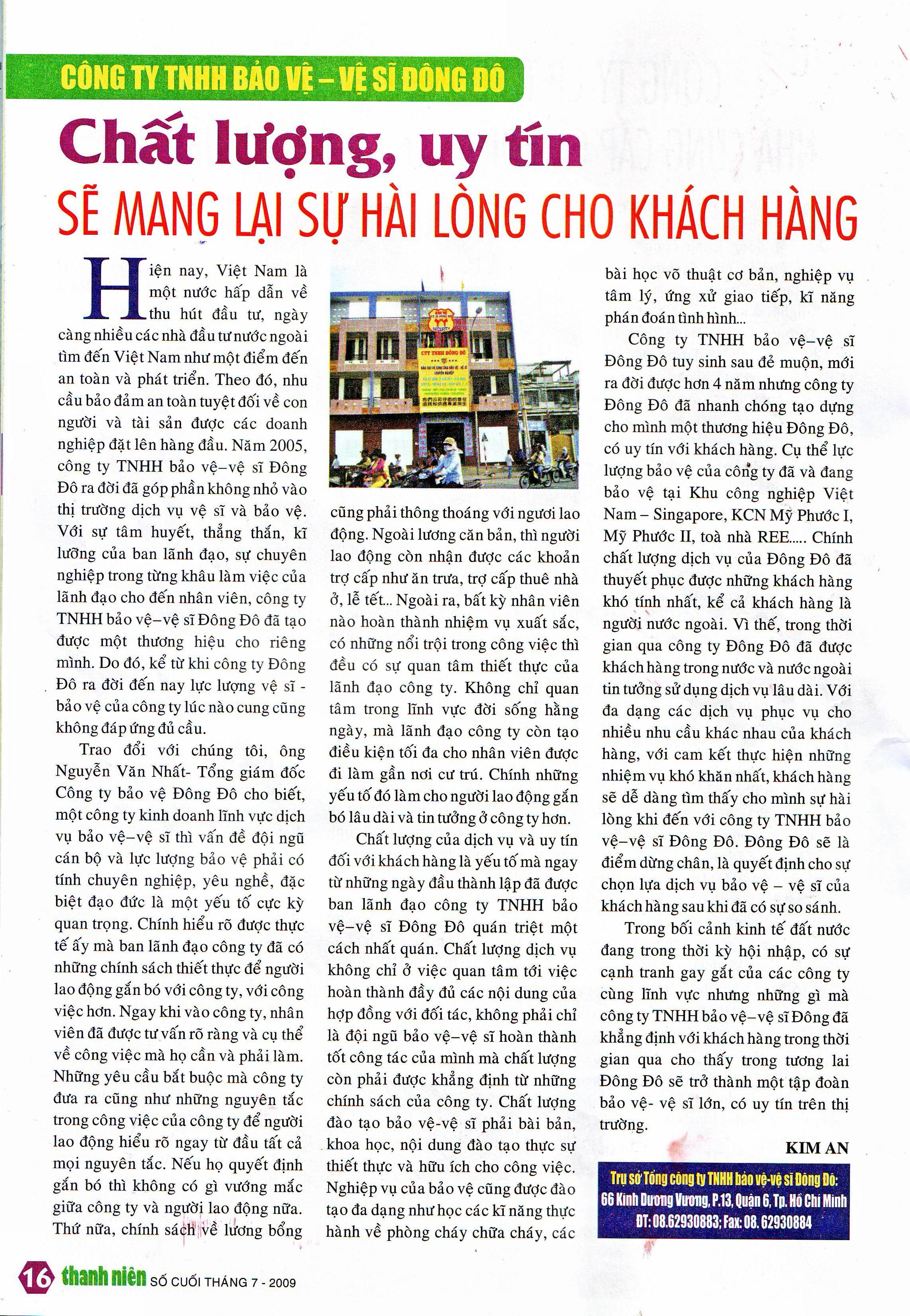 Báo Thanh niên viết về công ty dịch vụ bảo vệ vệ sĩ Đông Đô