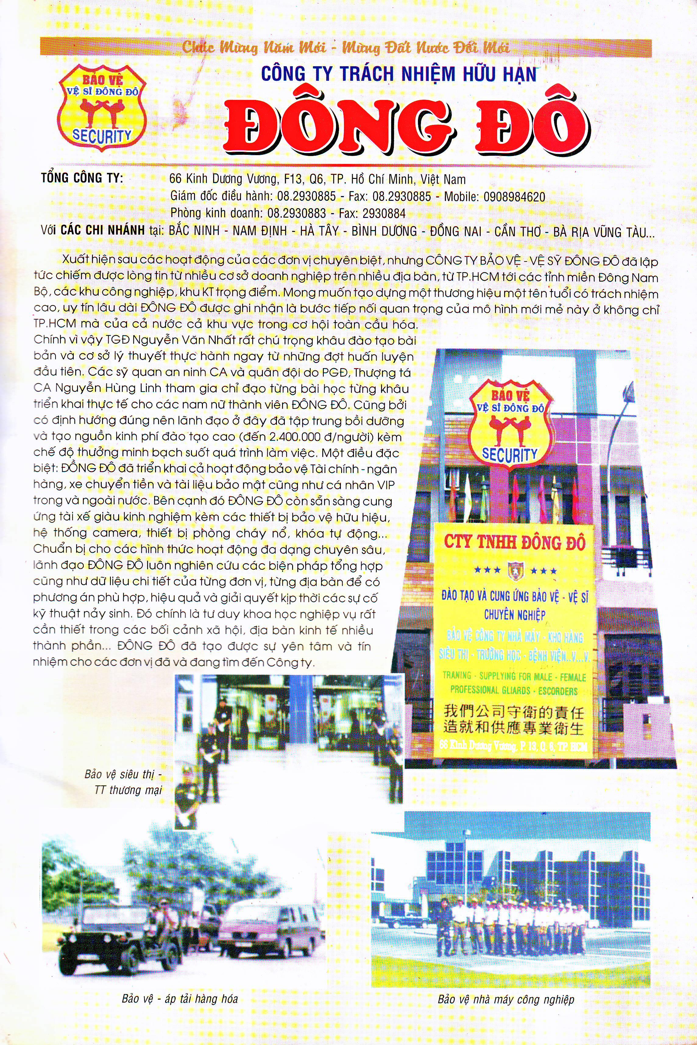 Báo công an viết về Công ty dịch vụ bảo vệ vệ sĩ Đông Đô